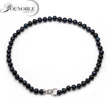 Real natural freshwater round black pearl necklace,trendy anniversary birthday gift choker pearl necklace women nymph freshwater pearl bracelets fine jewelry near round natural pearl bangles for women white trendy anniversary gift [s313]