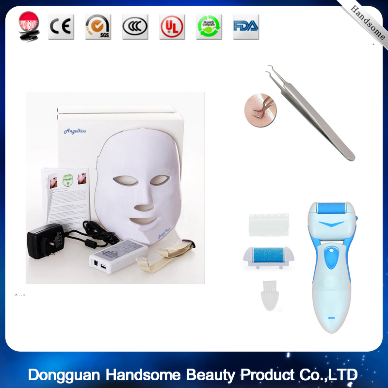 LED Photon Therapy 7 Color Light Treatment +Stainless Blackhead Acne clip+ Foot Pedicure Machine Professional Feet Care Tool anti acne pigment removal photon led light therapy facial beauty salon skin care treatment massager machine