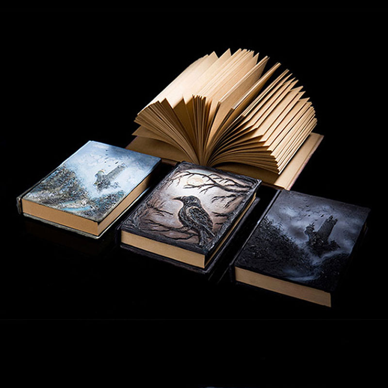 DIY Scrapbooking Business Vintage Embossed Notebook Gift Magic Wizard Custom Made Relief Notebooks Crafts Stickers BJB58