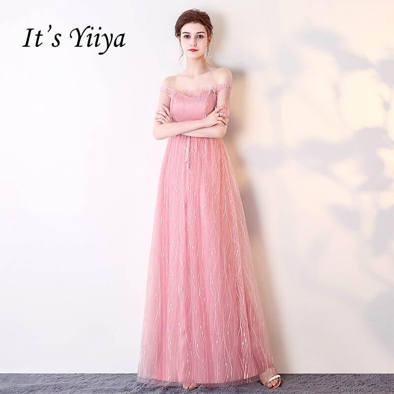 It's YiiYa Pink Short Sleeve Boat Neck Off The Shoulder Elegant Formal   Dresses   Floor Length   Evening     Dress   LX197