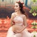 As mulheres Saia Rosa Maternidade Fotografia Adereços Sessão de Fotos de Roupas Vestidos de Maternidade Para grávidas Roupas Gravidez Elegante