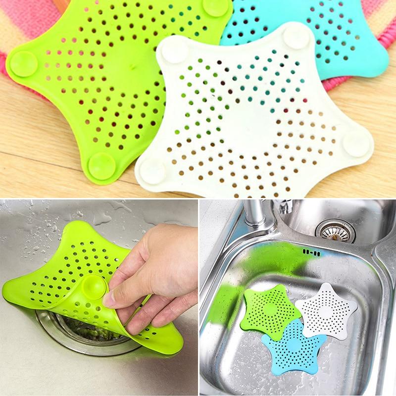 5 Color Optional Five-pointed Star Filter Kitchen Bath Sewer Sink Waste Strainer Filter Drain Hair Catcher Cover Shower Filter