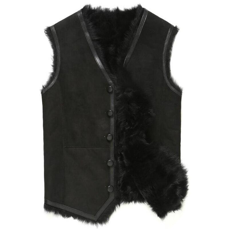 Мех жилет Для мужчин Shearling Jacket Мех пальто Тоскана шерсть верхняя одежда Короткие V воротник кожаные пальто TJ43