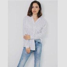 Spring new popular shirt fashion personality V-neck striped blouse fashion casual slim loose ladies long-sleeved shirt все цены