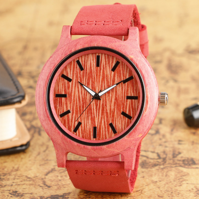Fashion Women Wooden Watch Analog Bamboo Nature Wood Quartz Wrist Watch Minimalist Female Gift Cool Pink Genuine Leather Strap