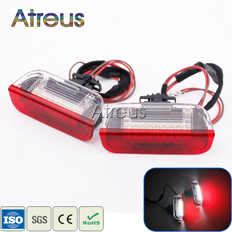 Atreus 2X Car LED Door Welcome Lights 12V White+Red SMD LED Lamp For VW Golf GTi Polo Jetta EOS Tiguan CC Scirocco Touareg