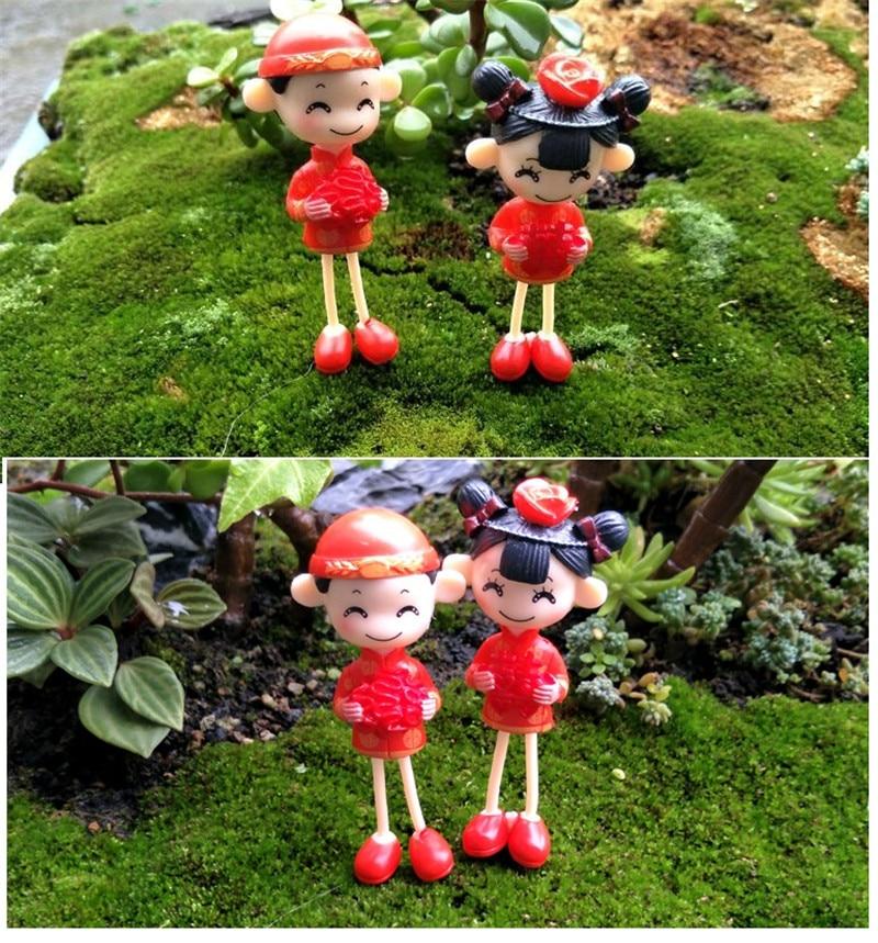1 Paar Chinese Stijl Mini Stellen Poppen Fairy Garden Miniaturen Decor Dollhouse/terrarium Figures Figurine Diy Micro Landschap