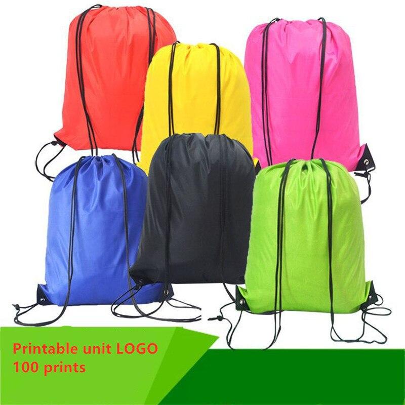 Portable Oxford Sports Bag 210D Man Women Drawstring Sport Bag Belt Riding Backpack Gym Drawstring Shoes Clothes Backpack