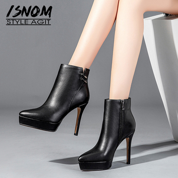 ISNOM Thin High Heels Women Ankle Boots Pointed Toe Footwear Leather Female Boot Fashion Platform Shoes Woman Winter 2018 New
