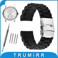 17mm 18mm 19mm 20mm 21mm 22mm 23mm 24mm Silicone Rubber Watchband for Armani Stainless Steel Clasp Watch Band Resin Strap