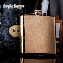 Mealivos Rose gold Flasks 6 oz Stainless Steel Hip Flask flowers for Alcohol Bottle liquor Whiskey bottle bridesmaid gift