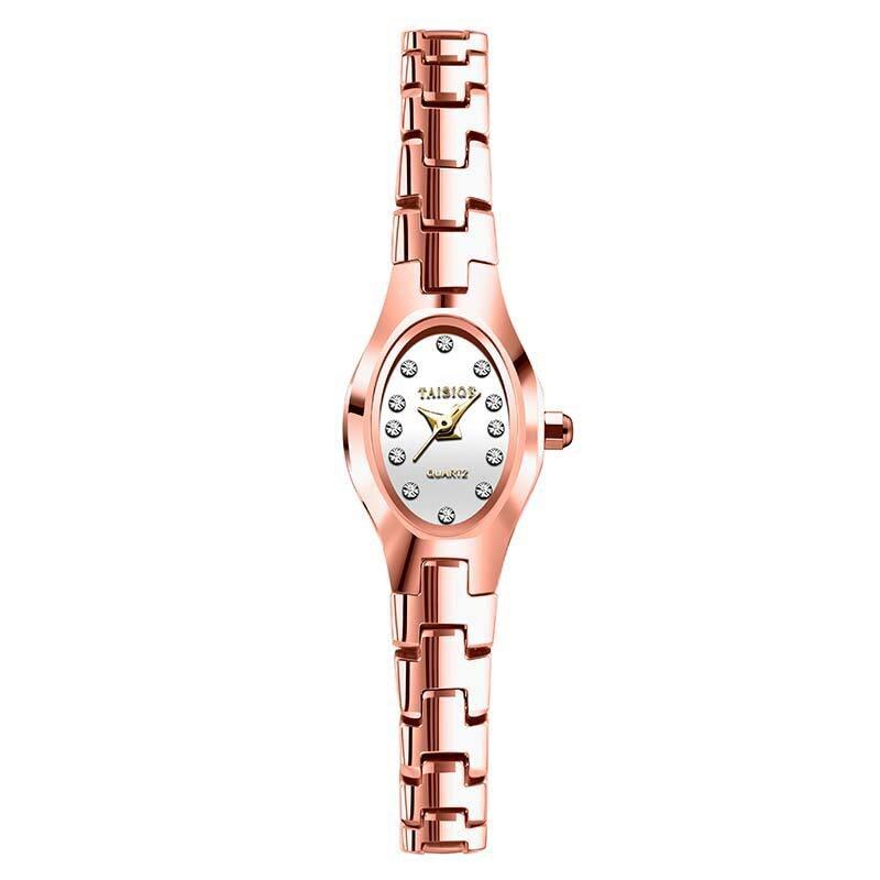 Bracelet Watch Strap Rhinestone Quartz Rose-Gold Waterproof Fashion Tungsten Small Oval