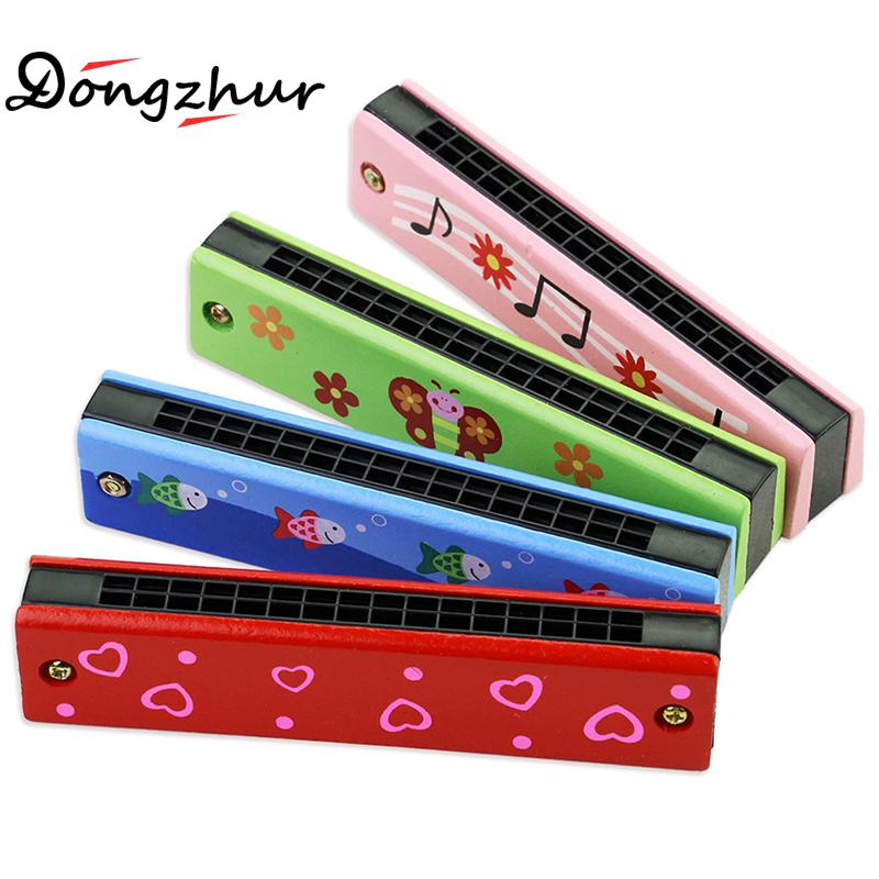 Dongzhur 1 Pc Random Color Children's Wooden Colorful Harmonica Early Education Toy Musical Instruments Newness Harmonica image