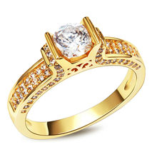 Romantic  Her and His Rings  Gold & Rhodium Plated  Wedding Jewelry AAA Quality Cubic Zircon Prong Setting  Fashion Ring