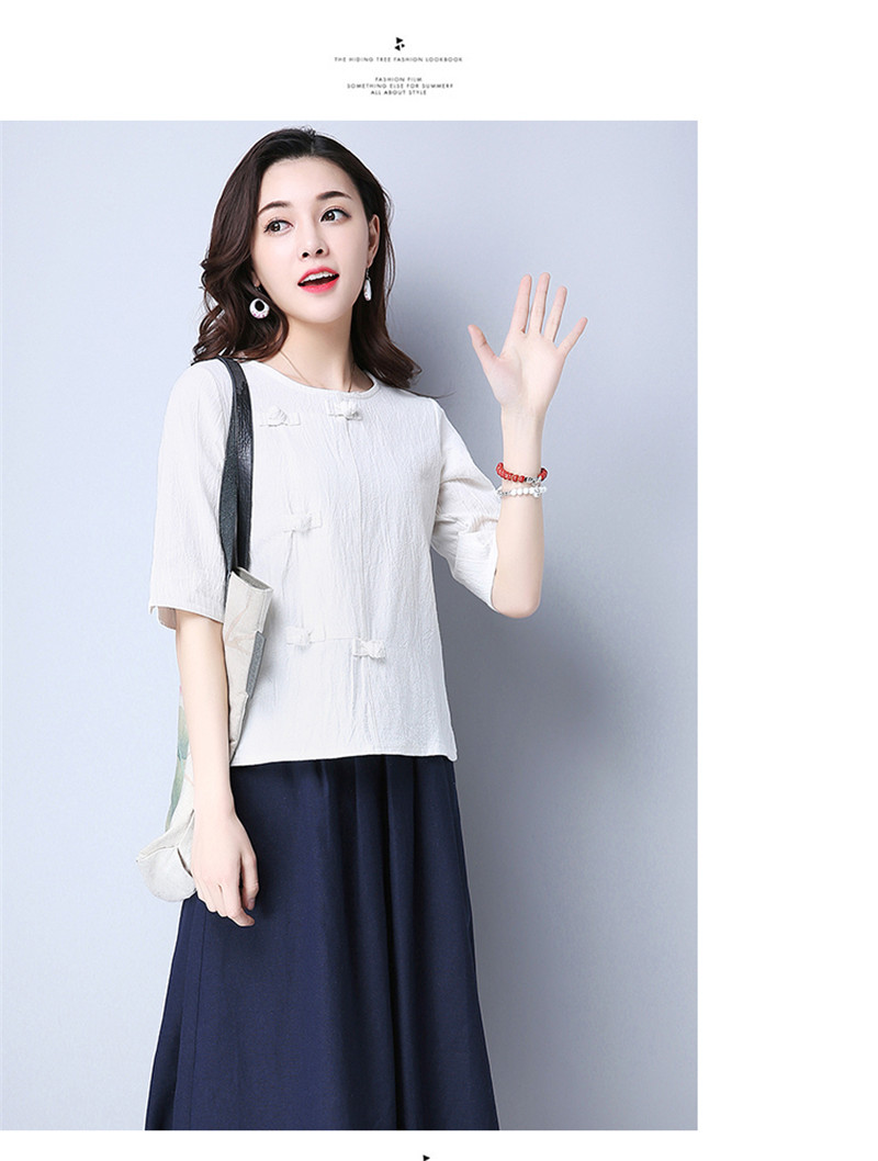 Cotton 2018 Summer Half Sleeve Loose Lady Vintage Women Shirt O Neck Chinese Style Linen T-Shirt Button 3XL 14