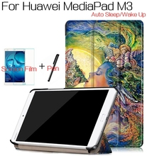 Luxury Flip Smart PU Leather Cover for Huawei MediaPad M3 BTV-W09/DL09 8.4″ Tablet Case+Free Screen Protector+Stylus Pen