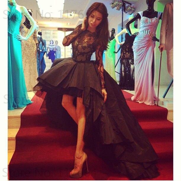 2015 Fashion Black Bateau Lace Bodice Long Sleeve Short Front Long Back High Low   Prom     Dresses
