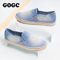 GOGC Fashion Denim Shoes Women Slipony Comfortable Breathable Canvas Shoes Women Casual Shoes Female Footwear Flat