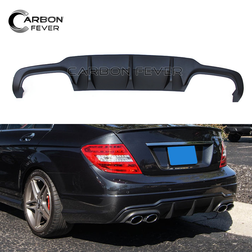 C Class Rear Bumper Diffuser C63 Style Lip For Mercedes W204 C Class Facelift 2012 - 2014 C180 C200 C250 C300 w204 c180 c200 c260 c300 carbon fiber car rear trunk lip spoiler wing for mercedes benz w204 c63 4 door 2008 2013 amg style