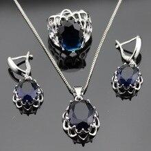 Azul Creado Sapphire Color Plata Sistemas de La Joyería Nupcial Para Las Mujeres Navidad Colgante/Collar/Pendientes/Anillos Regalo caja