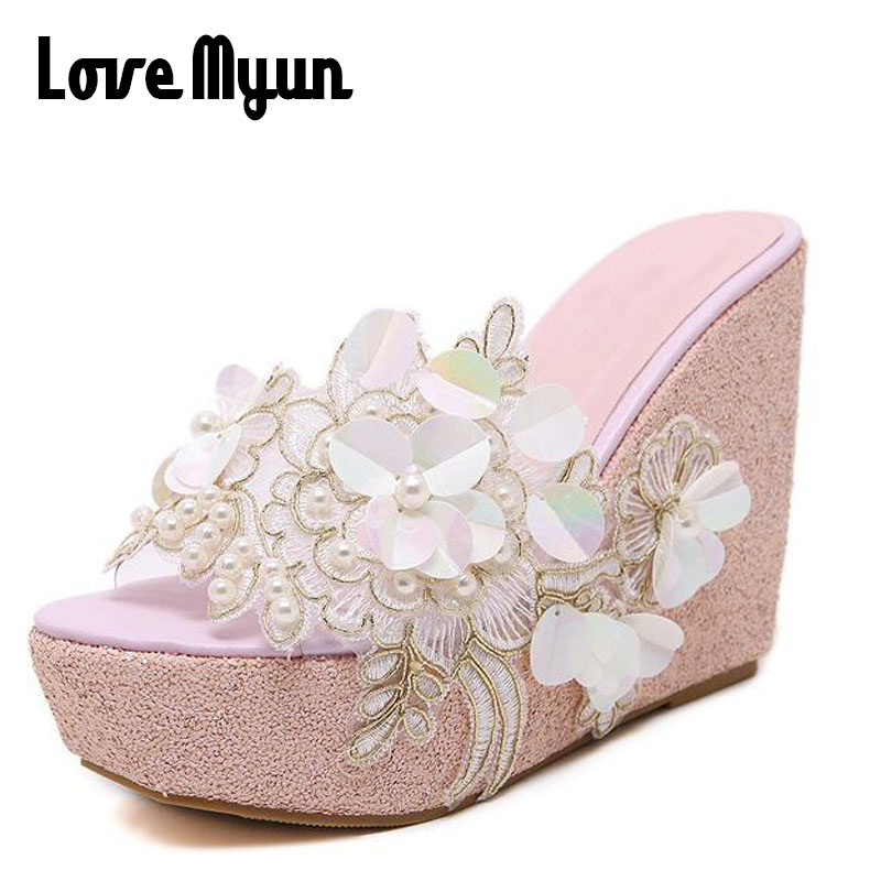 New Bling Wedges 2018 Lady Summer Sandals Sequined Cloth Glitter Platform Slides String Bead Flowers Shoes Woman Slippers SC-57