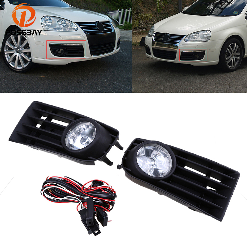 POSSBAY Fog Lights Car Halogen Lamp Daytime Running Light Lamp Bulbs Auto Replacement for 2004-2010 VW Jetta/Bora/ Golf Mk5 beler car grey interior dome reading light lamp itd 947 105 fit for vw golf jetta mk4 bora 1999 2004 passat b5 1998 2005
