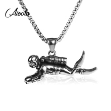 Aiovlo 3D Motion Diver Pendant Necklace Trinket Retro 316L Stainless Steel Chain Men Punk Hip Hop Never Fade Jewelry Gift