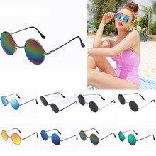 Винтажные мужские и женские солнцезащитные очки в стиле хиппи ретро, круглые металлические очки, зеркальные солнцезащитные очки из сплава, женские солнцезащитные очки oculos de sol
