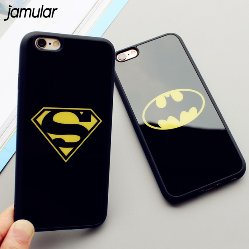 JAMULAR Mirror Superman Batman Case For iPhone 7 Plus 6 6s 8 Plus X Cases Back Cover For iPhone 6S 5 5S SE Covers Fundas Coque