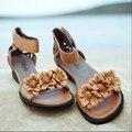 Edição limitada artesanal flor doce sapatos de salto médio mulheres sapatos de couro genuíno macio mulheres sapatos casuais