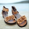 Limited edition ручной женщины обувь из натуральной кожи цветок сладкий средний каблуки повседневная мягкие ботинки женщин