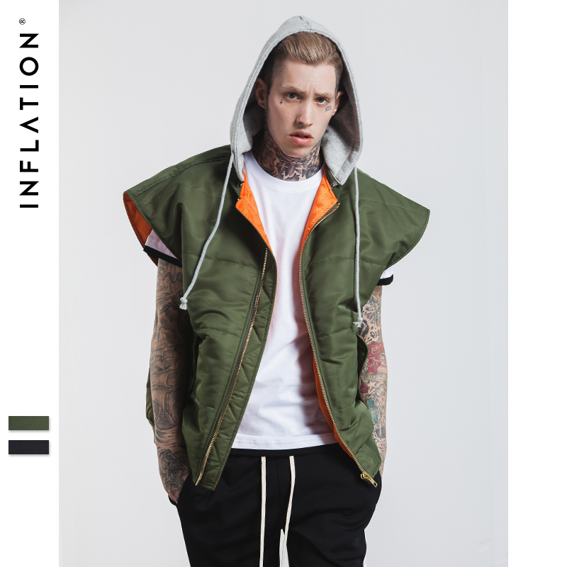 INFLATION New Winter Slim Fit Men Vest Coat Hoodies Fake Two Pieces With Zipper Oversize ...