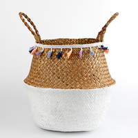 3pcs Storage Baskets Foldable Laundry Straw Patchwork Wicker Rattan Seagrass Belly Garden Flower Pot Planter Basket
