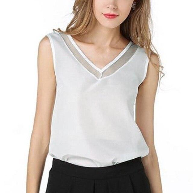 Fashion Solid Color Chiffon Blouse Women Sleeveless V neck Casual Women Tops Sweet Women Clothing OL Shirt Blusa Female 1