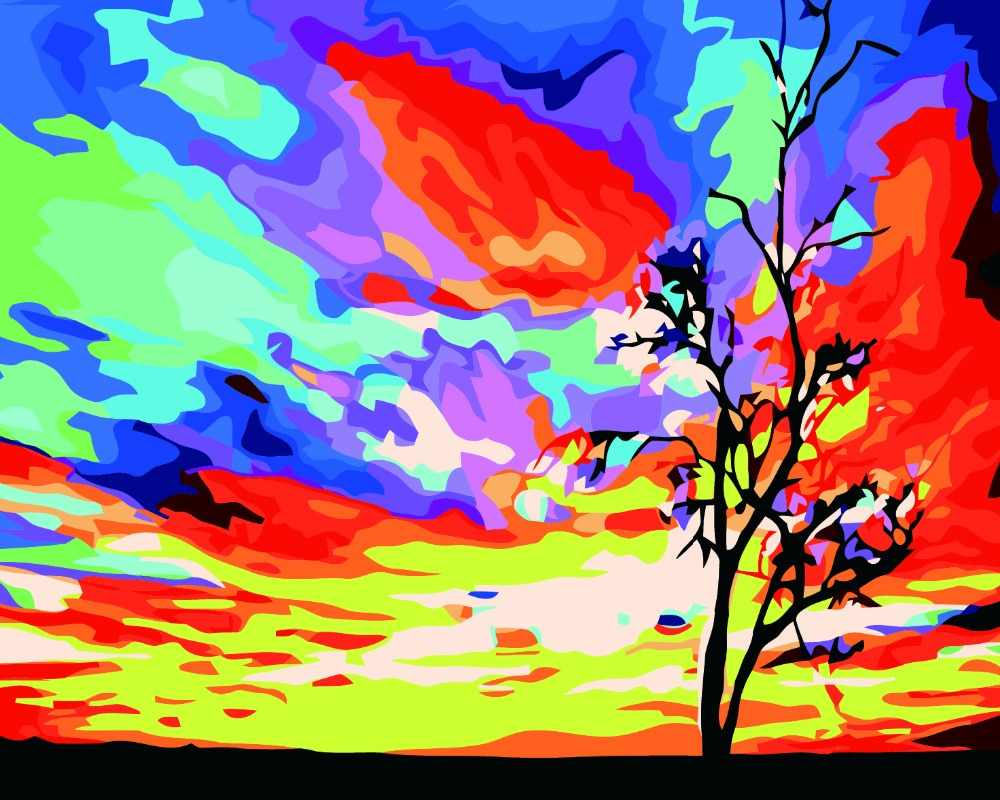 Hot Selling Frameless pictures Painting By Numbers hand painted oil painting Home Decoration For Living Room Sunset glow picture