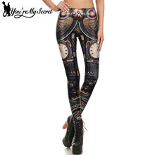 [You're My Secret] Steampunk Gear Cosplay Women Leggings 3D Printing Summer leggins Mechanical Dial Slim Women Pants Wholeale