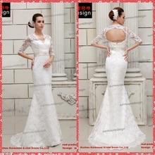 Smt201428 Real amostra Mermaid V neck meia manga vestido de noiva(China (Mainland))