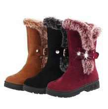 Femeninas Botas de nieve Botas de Invierno para Las Mujeres Zapatos Mujer Botas de felpa Corta