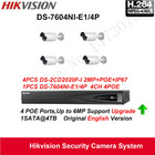 Hikvision Security Camera System 2MP bullet IP Camera outdoor 1080P 4pcs DS-2CD2020F-I POE IP67 with 4ch POE NVR DS-7604NI-E1/4P