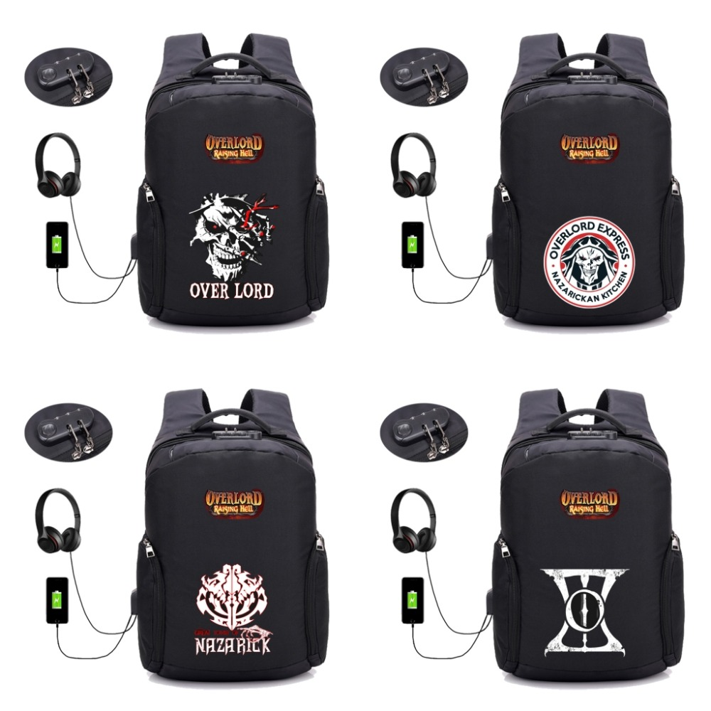 anime Overlord Backpacks USB Charging Anti-theft Backpack student book bag Teenagers Laptop bag men women laptop bag 32 style new anime one piece skull monkey d luffy backpack bag anti theft school rucksack student book bag cosplay for 14 inch laptop