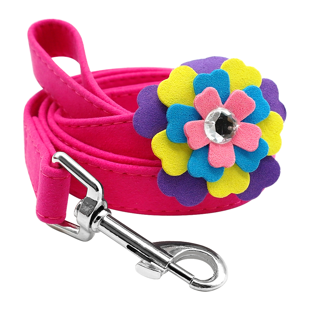 Soft Suede Leather Dog Leash Floral Rhinestone Puppy Walking Leads For Small Pets Cats Chihuahau Yorkshire