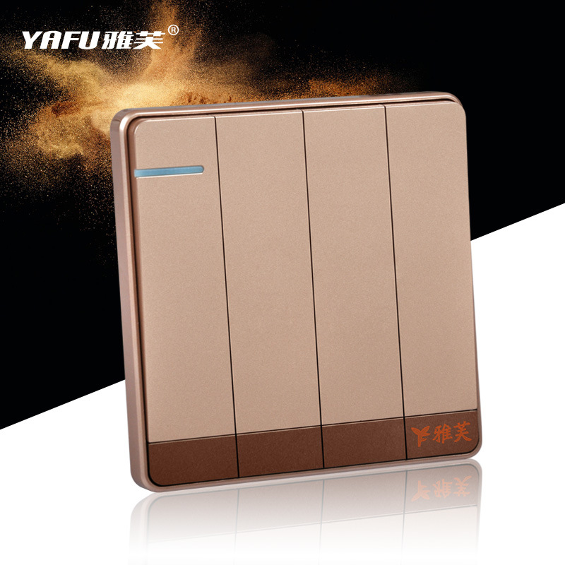 Fashion Four Gang/ One Way Control Switch Wall Switch Panel Golden Color Rocker Switch AC 220-250V 16A ac 250v 20a normal close 60c temperature control switch bimetal thermostat