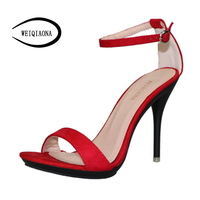 WEIQIAONA Classic Style Summer Women Shoes New Fashion Candy Colors Ankle Strap High Heel Sandals Hollow