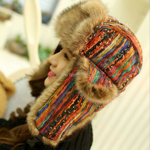 Image 2 - 2017 Winter Warm Trapper Hat Earflap Earmuffs Caps Winter Women Aviator Hat Thicken Ear Protection Bomber Hat Colored Bomber
