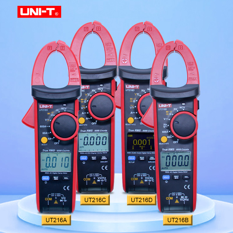 UNI-T  Digital clamp meter ac dc Multimeter UT216 Series 600A ture rms Auto Range Tongs Testers with data hold backlightUNI-T  Digital clamp meter ac dc Multimeter UT216 Series 600A ture rms Auto Range Tongs Testers with data hold backlight