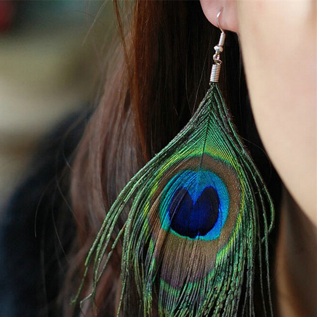 New Style Assorted Color Peacock Natural Feather Earrings