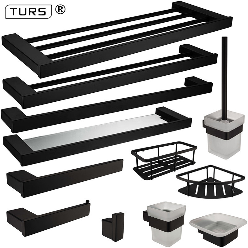 New SUS 304 Stainless Steel Bathroom Hardware Set Black Matte Paper Holder Toothbrush Holder Towel Bar Bathroom Accessories