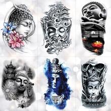 Buddha Sakyamuni Waterproof Temporary Tattoo Sticker Bamboo Lotus light Tower Flash Arm Tattoos Body Art Fake Tatoo