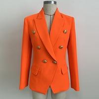 HIGH QUALITY Newest 2019 Designer Blazer Women's Lion Buttons Double Breasted Blazer Jacket Neon Orange