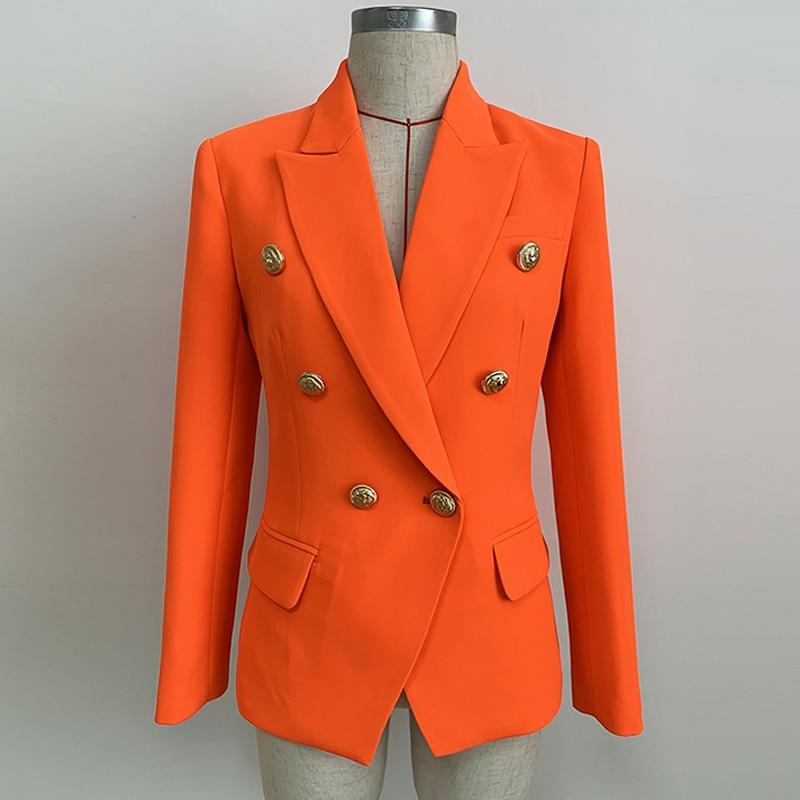 HIGH QUALITY Newest 2020 Designer Blazer Women's Lion Buttons Double Breasted Blazer Jacket Neon Orange